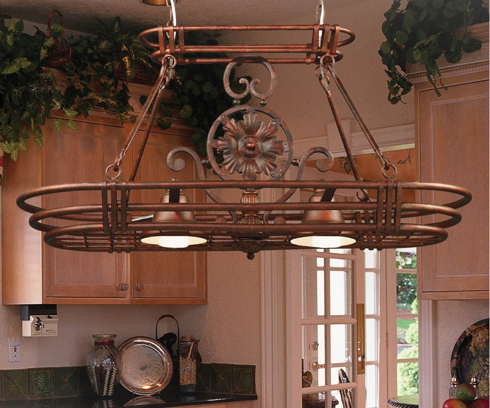 Kitchen Hanging Rack With Lights