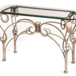 Gold Wrought Iron Sofa Table With Glass On Top