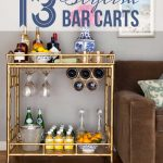 Golden Bar Cart Accessories With Brown Sofa