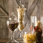 Grains leaves and beans as the tranparent glass vase filler ideas