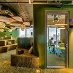 Green Office Ideas With Awesome Decor On Seating Furniture And Wall