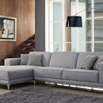 Grey Color Of Unique Sectional Sofas With Floor Lamp And Fur Rug