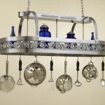 Grey Metal And Blue Pot Rack With Lights