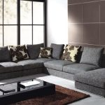 Grey Sectional Sofa Designs For Living Room With Pillows And Rectangular Coffee Table