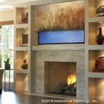 Half Down Flat Screen TV Covers With Both Racks Sides And Fireplace