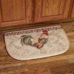Halfmoon Rooster Kitchen Rugs On Hardwood Floor