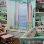 Joyful Pink Blackout Curtains Nursery Witth Same Theme Of Crib Wooden Shelves