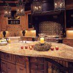 Kitchen Pendant Light Fixture In Rustic Kitchen Interior Design