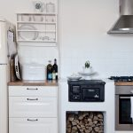 Kitchen Small Stove Oven With White Cabinet Drawers Refrigerator And Wall