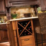 Kitchen island with under wine rack made of solid wood unique rattan barstool idea with black brushed metal