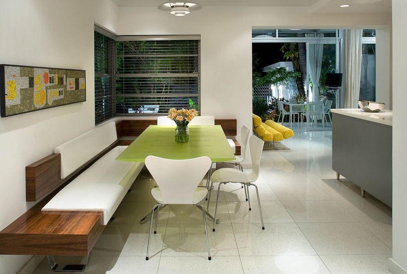 Larger Corner Bench Kitchen With Decorative White Backrest And Seating Feature Three Units Of Modern