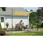 Light brown DIY shade sailing idea for patio outdoor furniture set