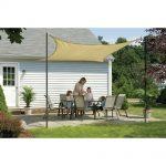Light brown DIY shade sailing idea for patio outdoor furniture set