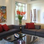 Living Room Colour Schemes With Flower Red Pillows And Grey Sofas
