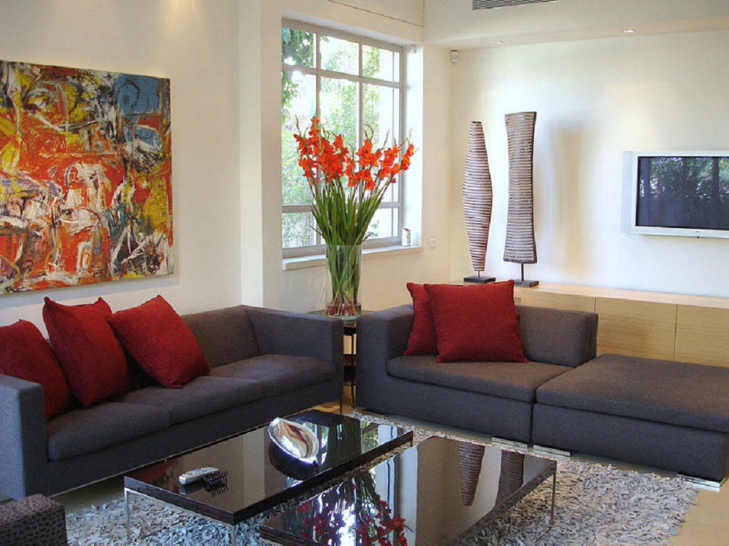 Red Living Room Color Schemes Living Room Colour Schemes With Flower Red Pillows And Grey Sofas