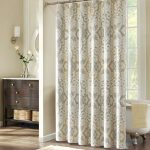 Lovely Fabric Shower White Patterned Curtains