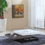 Low profile white top center table with two layers of under storage idea bold grey area rug for a modern living room big white ceramic planter box for indoor decorative tree