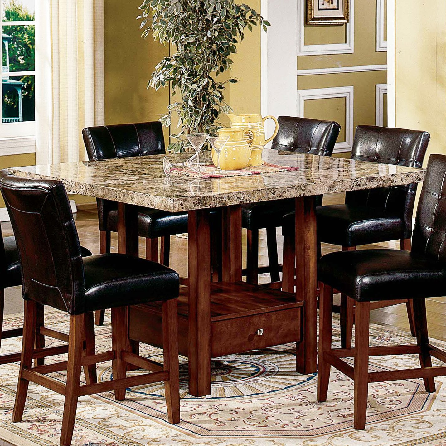 Marble High Top Table Sets With Black Wooden Leather Chairs
