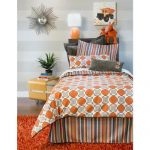 Mid century modern single bedding idea in polka dot motifs single bed frame with headboard modern bedside table with casters orange shag bedroom rug