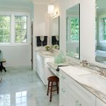 Ming Green Marble Tile In Modern Bathroom With Double Mirror And Sink