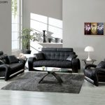 Modern Black Sofa Designs For Living Room With Glass Table And Grey Rug