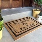 Modern Double Door Mat For Wooden Door With Colorful Plants Pot