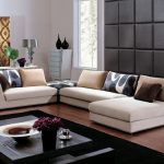 Modern White Sofa Designs For Living Room With Black Carpet And Wooden Table