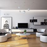 Modern White Sofa Designs For Living Room With Entertainment Set