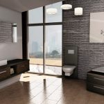 Modern minimalist bathroom design in 3D version with modern white floating toliet built in tub with storage modern wooden floating bathroom vanity with white sink and faucet frameless rectangle mirror