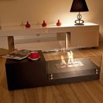Modern minimalist indoor fire pit table with clear glass wall panels