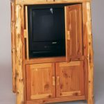 Modern rustic entertainment center with door and under cabinet made of wood