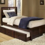 Modern trundle beds made of wooden featuring three drawers and wooden laminating floor and modern rug in brown schemed room