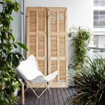 Natural Small Balcony With Dark Wood Floor And White Chair Of Apartment Balcony Furniture
