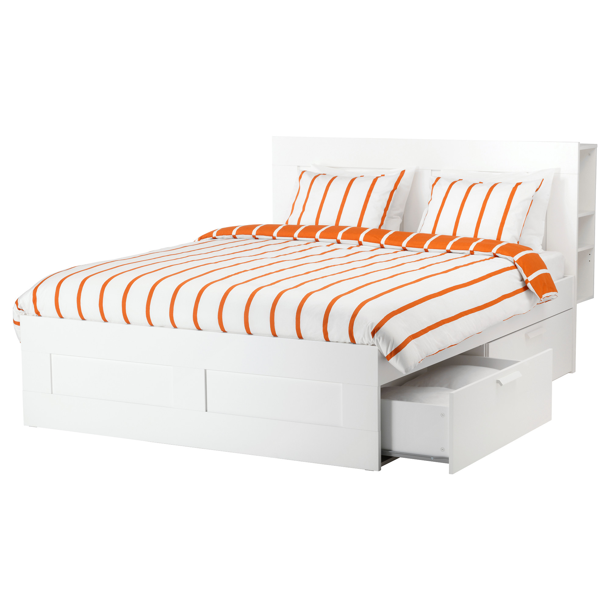 Orange And White Stripped Bed With Ikea Frame Drawers