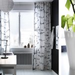 Pretty Ikea Patterned Curtains On White Window Faces To Modern Home Office Desk