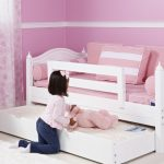 Pure white double trundle bed idea for little girl  white bedroom rug