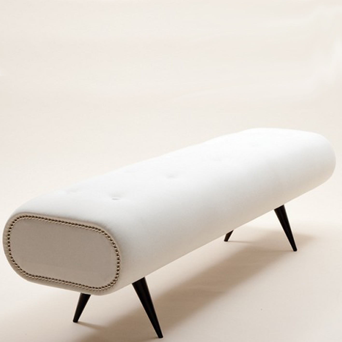 Pure White End Bed Bench In Modern And Unique Shape Black Wood Legs