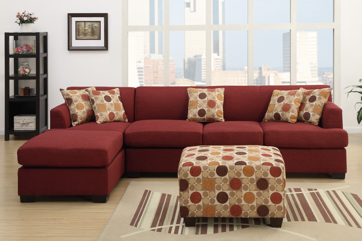 Red microfiber sectionals highlight your living room for Black microfiber sectional sofa with chaise