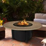 Round natural stone fire pit table