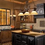 Rustic Triple Kitchen Pendant Light Fixture And Wooden Classic Cabinet