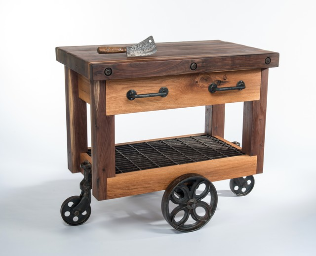 Rustic Kitchen Cart On Wheels With Drawers And Block Bucther Surface
