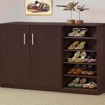 Shoes rack and cabinet in black finish