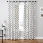 Silver White Patterned Curtains On Grey Wall