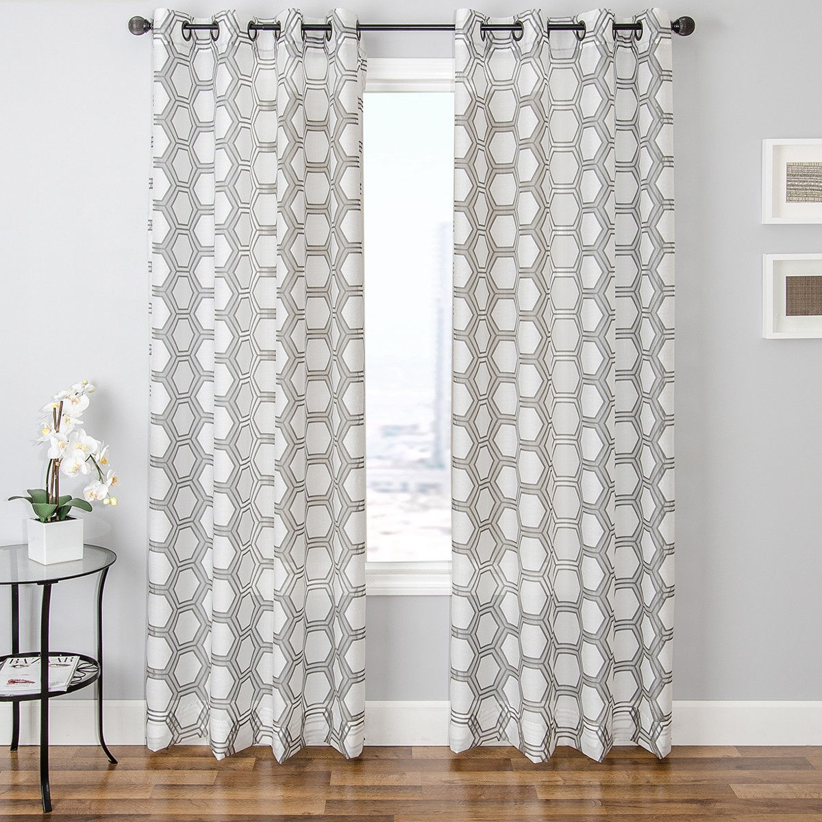 White And Silver Kitchen Curtains
