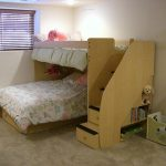 Simple unfinished loft bed with built in stairs and additional trundle
