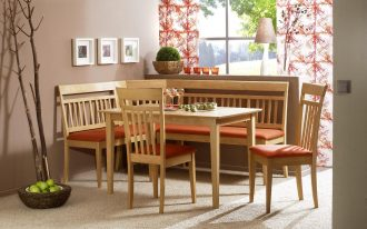 Simple wood corner bench kitchen with orange cushion wood table set with two wood chairs with orange cushion