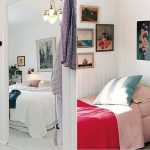 Single bed idea without headboard a striking painting on wall as the replaced headboard