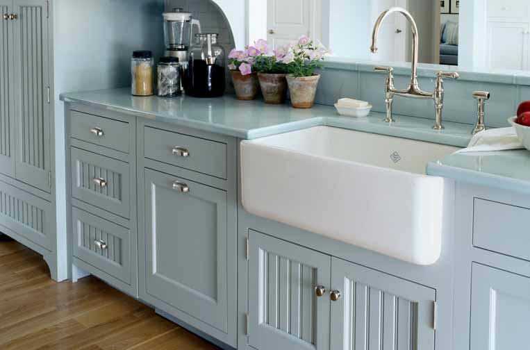 Single White And Deep Farm Sink With Glossy Nickel Water Faucet Light Blue Countertop