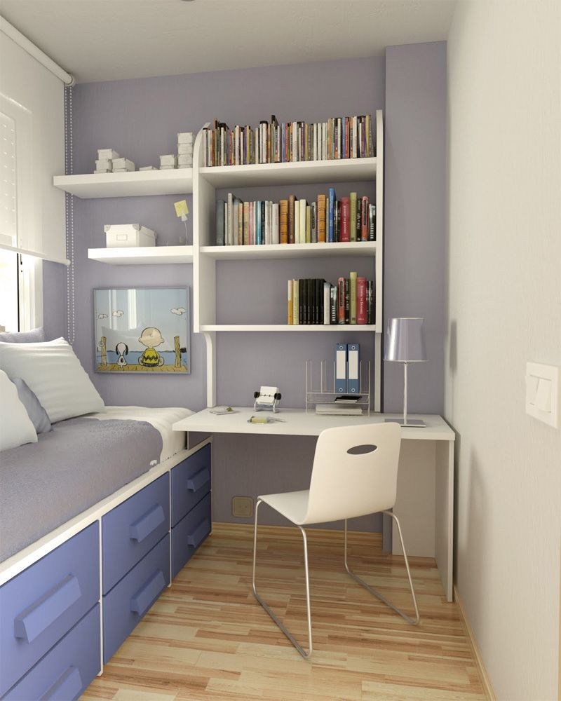 Small Bedroom Desks For With Purple Color Theme And Bookshelves