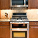 Small Stove Oven On Wooden Kitchen Cabinet Set